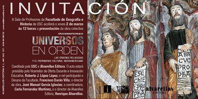 """Alvarellos Editora presenta """"Universos en orden"""", o xoves 2 de marzo, na facultade de Xeografía e Historia da USC"""